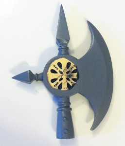 """Prototype shot of Gwendolyn's Pike-Ax from """"Mouse Guard"""" sculpted by John Thompson."""